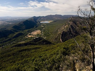 View over Halls Gap Showing Wonderland Range and Lake Bellfield