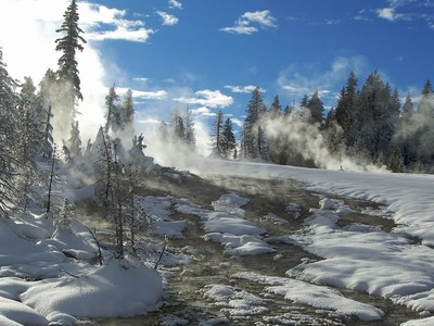 West Thumb Geyser Basin in Winter