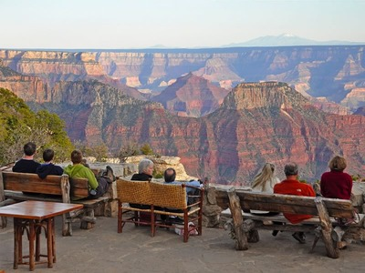 Visitors Enjoy the View on the Grand Canyon Lodge Patio