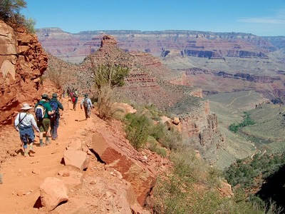 Heading to the Indian Garden Oasis (right) on the Bright Angel Trail